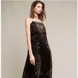 NWT Anthropologie Green Velvet Slip Dress M